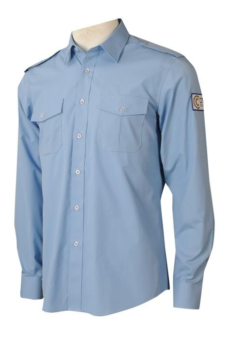 R313 訂做恤衫胸袋  製作長袖恤衫   恤衫製造商   35%滌   保安   天藍色