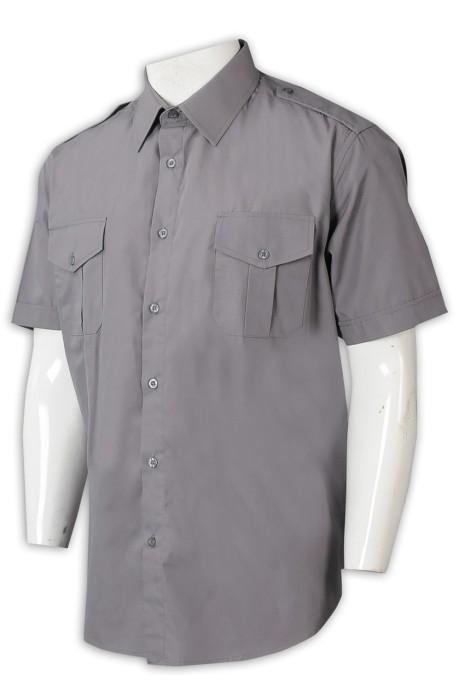 R318   訂購男裝恤衫   訂製短袖襯衫   雙胸袋   恤衫專門店   恤衫供應商  弘發TC133*72平紋 灰色