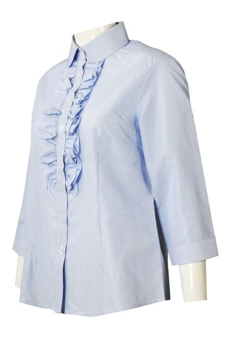 R319 訂製七分袖恤衫 設計胸閘壓花公主領女裝恤衫 恤衫專門店 藍色