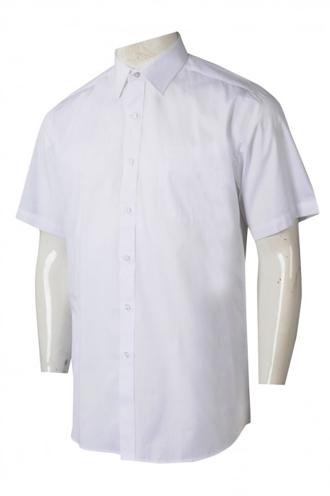 R322 訂製男裝短袖恤衫 訂造白色短袖恤衫 恤衫製衣廠 香港 康業服務有限公司   60%COTTON 40%POLYESTER