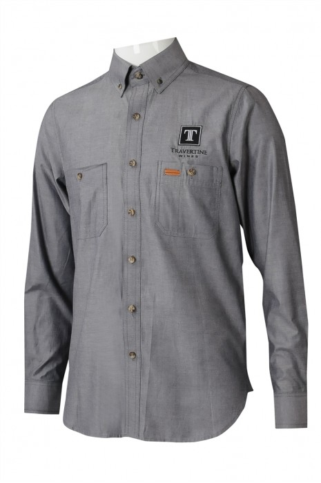 R325 來樣訂製女裝長袖恤衫 時尚繡花LOGO恤衫 恤衫生產商 酒品 銷售