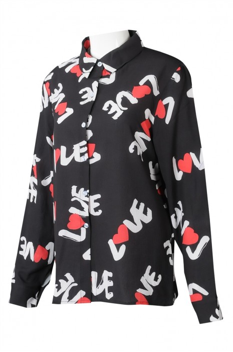 R326 製造女裝長袖POLO恤衫 設計印花POLO恤衫 恤衫專門店