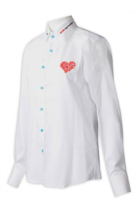 R329 製造女裝長袖恤衫 設計藍色鈕扣領位繡花設計LOGO白色恤衫 恤衫製衣廠 100% cofton  新加坡 醫務中心