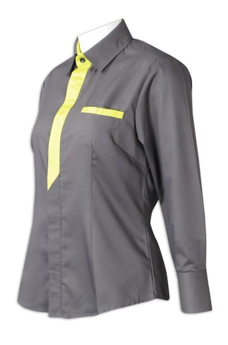 R332  專業訂製女裝長袖恤衫   設計胸前撞色   灰色撞色螢光色   長袖恤衫供應商   65%滌    30%棉