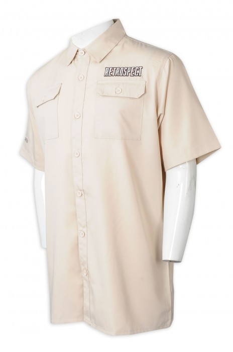 R333  製造男裝短袖恤衫  訂做翻領恤衫  男裝  長袖  繡花  logo  恤衫製造商   斜紋呢   米黃色   香港  考古學家 文物 歷史 專員 博物館 制服