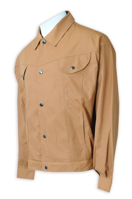 R335  來樣訂製棕色恤衫   設計胸前兩個袋   加拿大  零售行業    恤衫專門店  恤衫外套 厚身時裝款 銀色啪鈕