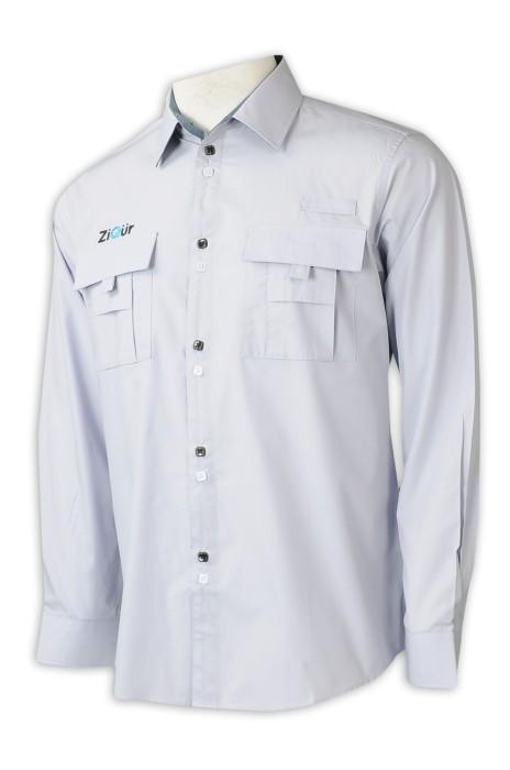R336  設計黑白紐扣恤衫   來樣訂製繡花LOGO恤衫    公司制服   泰國   35%棉   65%滌  胸袋 左右對講機設計 新加坡 家電 電子消費品行業