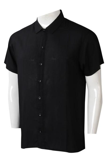 R337  製造短袖淨色男裝恤衫  個人訂製職業翻領恤衫  恤衫中心  100%Viscose   懸垂感