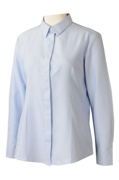 R338  製造女裝淨色恤衫  大量訂購修身恤衫 65%棉 35%滌恤衫  恤衫專門店  香港 牛津纺