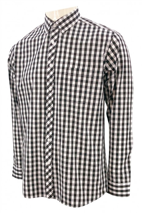 R340    設計長袖格子恤衫   左上胸有袋設計  4種顏色格子撞色    恤衫供應商   黑白灰細格
