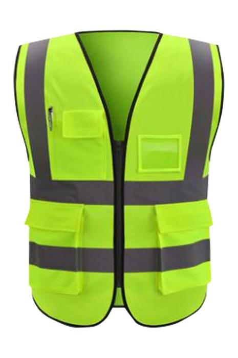SKVT021 製造大容量袋口反光背心  個人設計拉鏈款放名片卡袋位 街頭清潔工 道路指揮員反光背心 志願者 反光背心中心