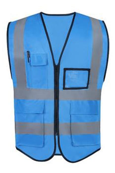 SKVT022  訂製拉鏈款反光背心  網上下單訂購大容量袋口名片卡袋口 小區清潔工人 綠化員反光背心 反光背心生產商
