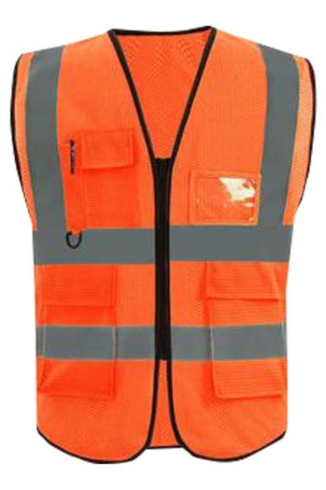 SKVT024 網上下單訂製多功能袋口  設計拉鏈反光背心地盤工人  清潔工 交通指揮員  高空作業反光衣 反光背心製衣廠  網布