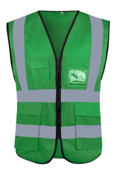 SKVT028  大量訂製拉鏈款反光背心  個人設計多功能大容量袋口反光背心 名片咭套設計 反光背心生產商