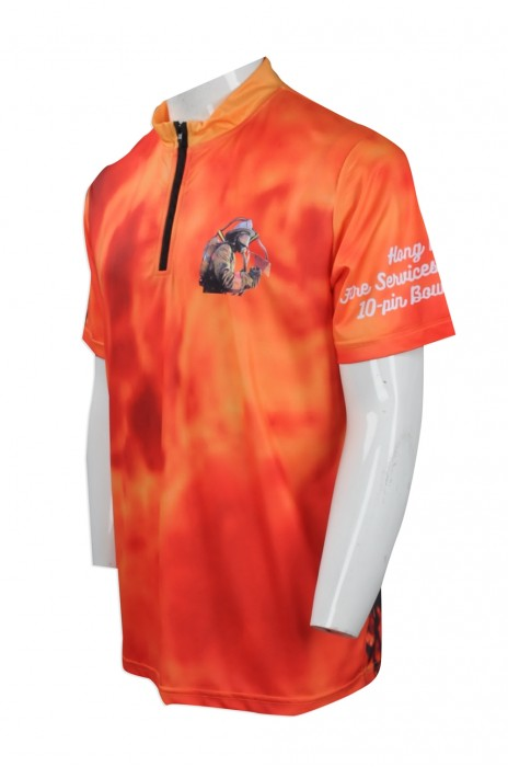 P787 供應熱升華Polo衫 訂制領口拉鏈款熱升華Polo衫 保齡衣 保齡球隊衫 制服公司