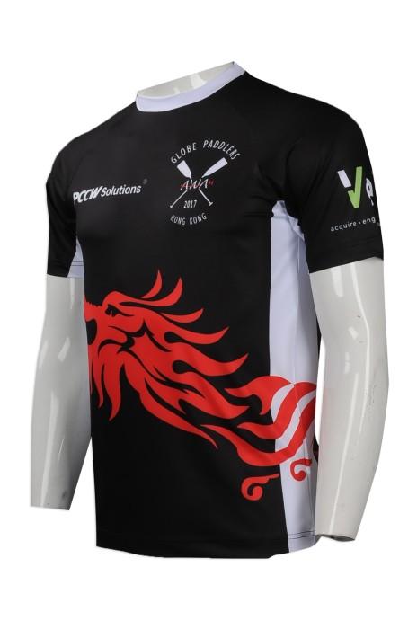 T765 來樣訂做男裝熱升華T恤 自製男裝熱升華T恤 划艇比賽 獨木舟 槳板運動 隊衫 熱升華供應商