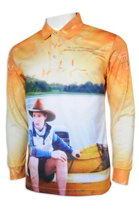 T991 訂製熱升華長袖Polo恤 修身 教會 活動 衫 熱升華生產商