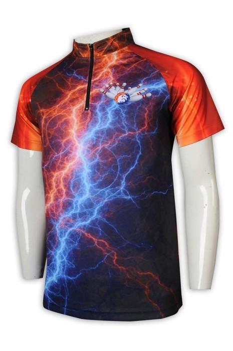 T992 制定熱升華短袖 領口 拉鏈款 保齡球 隊衫 全件印花 熱升華短袖供應商