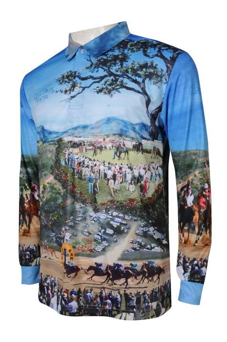T996 訂購熱升華 長袖 印花 Logo 拼色 撞色 馬術 比賽 賽馬比賽 活動衫 熱升華生產商