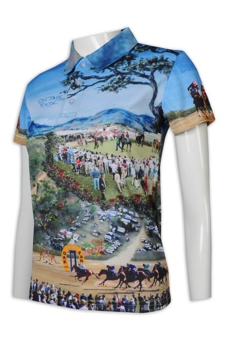 T997 訂做熱升華 女裝 短袖 整件印花 全件印花 3粒鈕 Polo恤 熱升華專門店