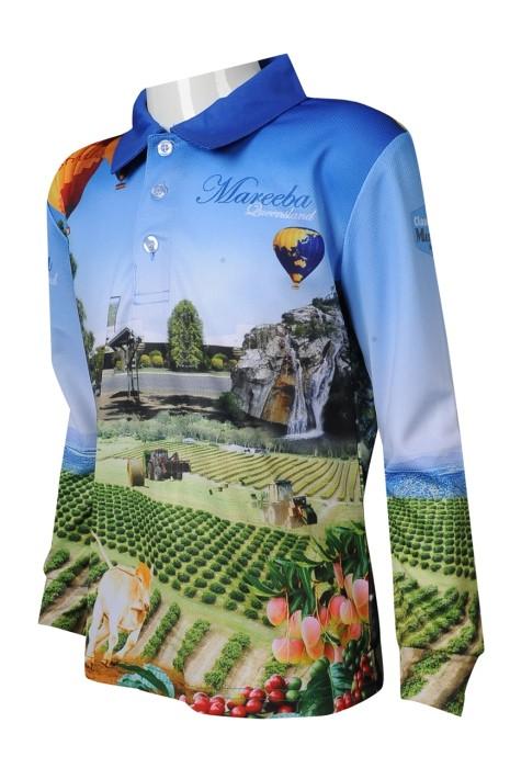 T999 來樣訂做熱升華 長袖 整件印花 男裝 Polo恤 熱升華專門店