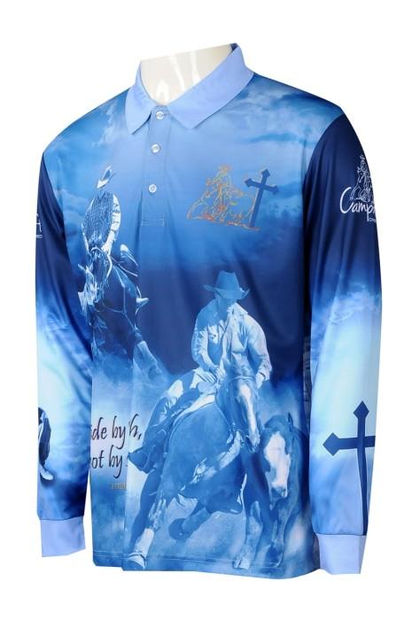 P1258 供應男裝長袖熱升華 時尚設計整件印花Polo恤熱升華 熱升華專門店