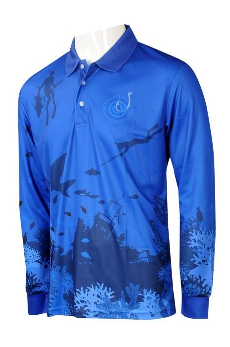 P1260  製造男裝長袖熱升華  設計藍色Polo恤印花LOGO熱升華 熱升華中心 澳洲馬術學校