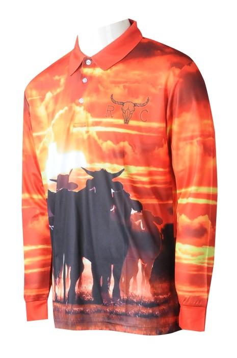 P1261 大量訂製男裝熱升華  自訂橙色印花長袖Polo恤反領熱升華  熱升華製衣廠  澳洲馬術學校