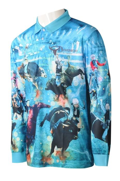 P1262 網上訂購男裝熱升華  個人設計印花logo長袖反領藍色熱升華 熱升華製衣廠  澳洲馬術學校