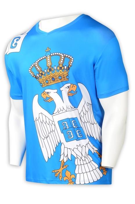 T1016 大量訂製藍色短袖T恤熱升華 設計整件印花V領T恤熱升華 T恤熱升華供應商  美国