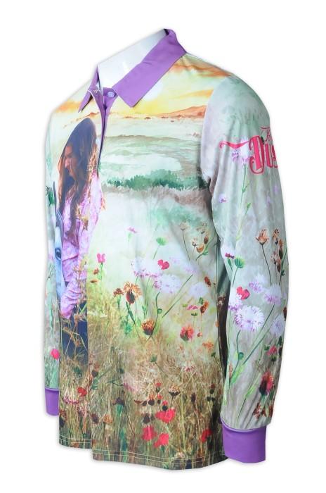 P1288   訂購男裝長袖熱升華   Polo恤   整件熱升華   熱升華製造商    澳洲 馬術    活動   撞色領撞色袖口紫色