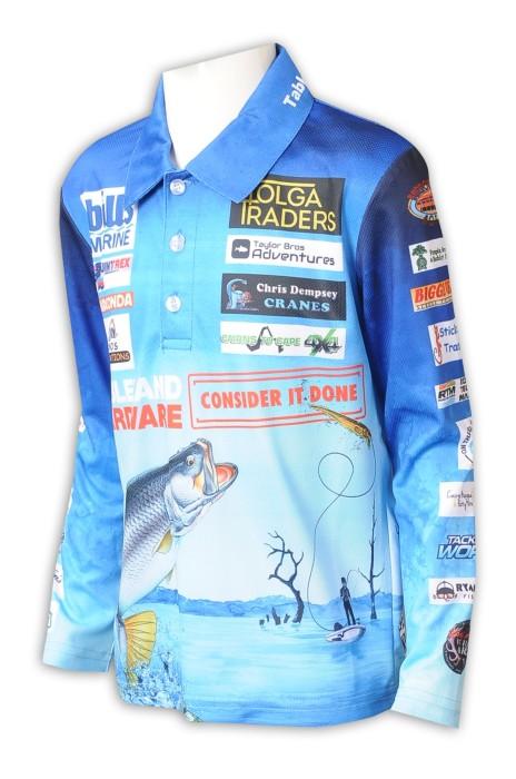 P1289  來樣訂做熱升華 長袖 整件印花  男童 Polo恤    熱升華供應商  釣魚 家庭 河川 巡迴活動比賽