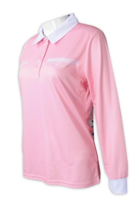 P1290  訂製女裝長袖熱升華  印花logo熱升華   女裝Polo恤  撞色領撞色袖口白色  澳洲 曲棍球 比賽 板球 木球 活動