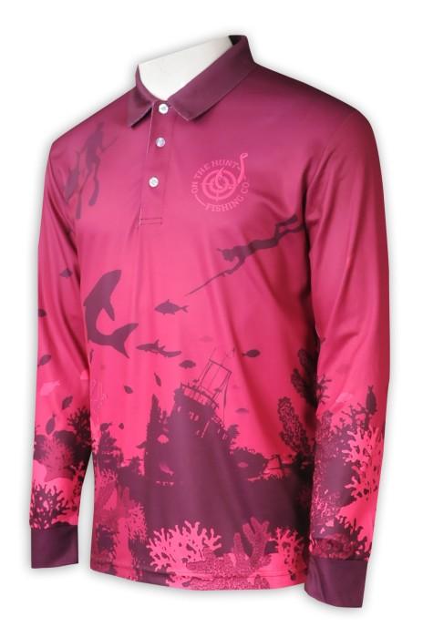P1292  製作熱升華長袖Polo恤  男裝  全件印花   熱升華生產商   潛水 釣魚 隊衫