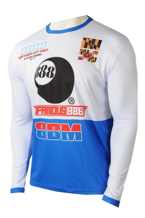 T1038  專業訂製數碼印Tee  訂製圓領撞色和袖長袖T恤 熱升華生產商  電子競技 平台 美國 零售