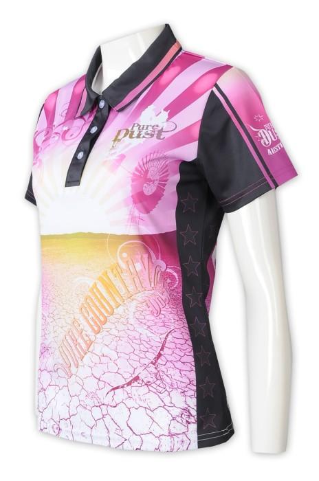 P1315  設計女裝熱升華Polo恤     訂做撞色領Polo領     熱升華印花logo  澳洲   pure dust 制服公司   熱升華生產商