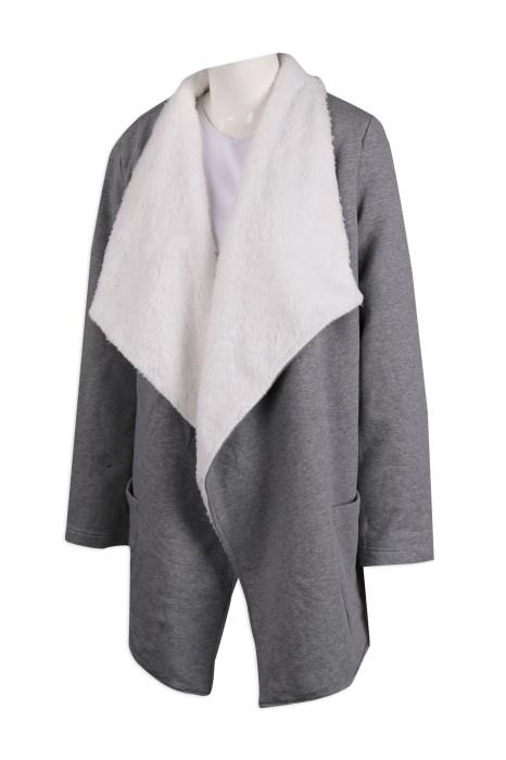 FA351 訂製女裝抓毛底 長款披肩款 時裝款式製造商
