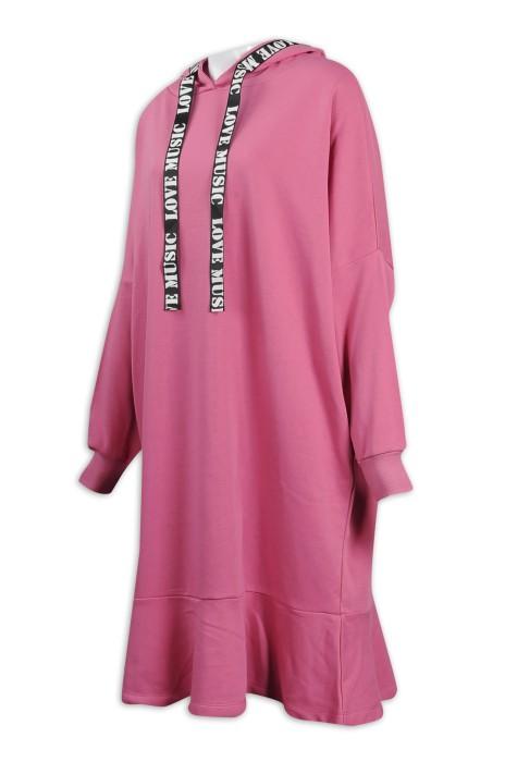 FA352 製作長款衛衣裙 粗織帶 帽繩 織帶LOGO 車帽邊設計 80%棉 20%滌 時裝款式供應商