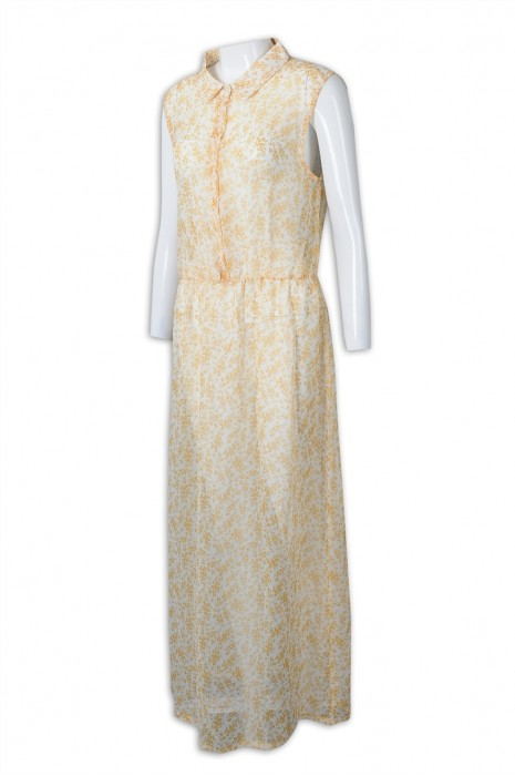 FA356 訂製無袖長裙連身裙 製造收腰連身裙 連身裙專門店