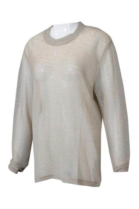 FA362 來樣訂製半透明長袖時裝款式 設計薄紗圓領時裝款式 時裝款式工廠   蕾絲 喱仕