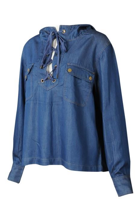 FA365  設計連衣帽時裝款式 訂製綁帶時裝款式 時裝款式供應商 牛仔面料 前胸 半胸綁繩