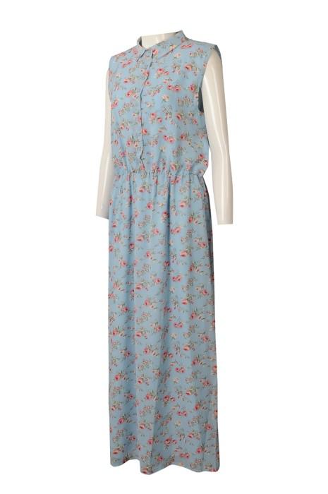 FA372 網上訂製無袖連身裙時裝款式 設計碎花長裙時裝款式 時裝款式專營 夏天  夏季