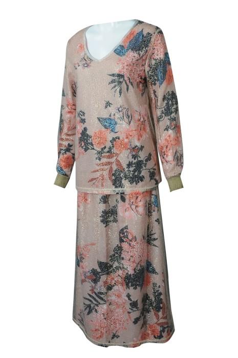 FA373 製造套裝裙時裝款式 訂製V領時裝款式 時裝款式中心 喱仕 金絲