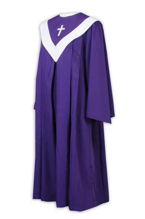 SKPT051 大量訂製聖詩袍 設計紫色聖詩袍 後背隱形拉鏈 主內聖 基督徒 教會詩班唱詩 聖詩袍供應商