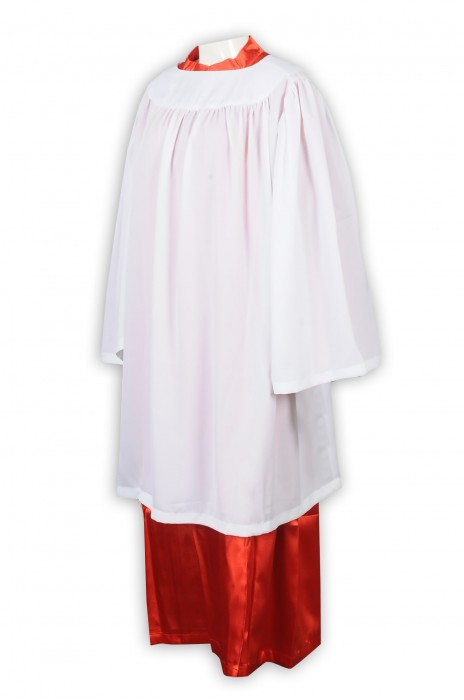 SKPT052 訂製紅色辅祭服聖詩袍 天主教 宗教禮儀 教會 設計圓領口聖詩袍 小白衣  聖詩袍供應商
