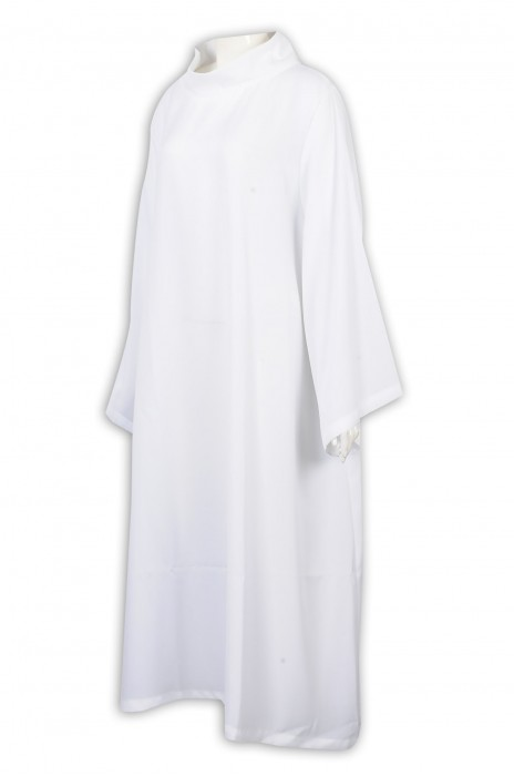 SKPT053 製造白色聖詩袍 設計立翻領 神父長白衣 教堂 天主教 宗教禮儀 聖詩袍供應商