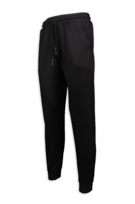 U341 設計黑色運動長褲 束腳 亮光印花 運動褲製造商