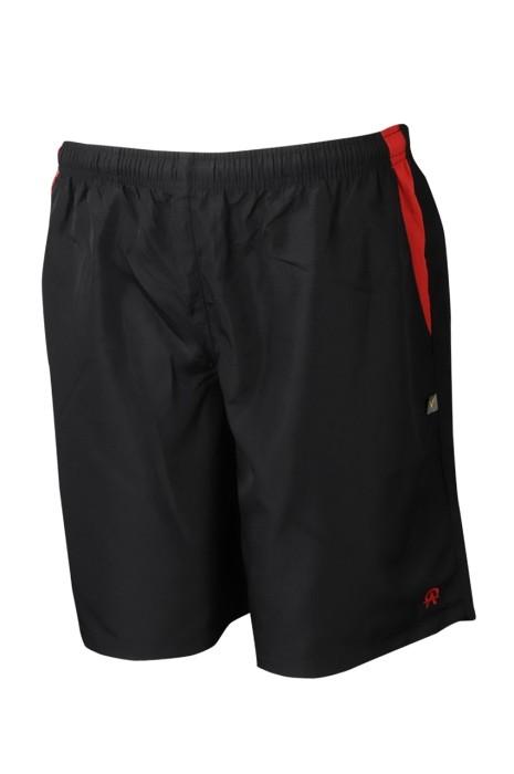 U355 來樣訂製抽繩運動褲 製作繡花LOGO運動褲 運動褲生產商 黑色撞紅色