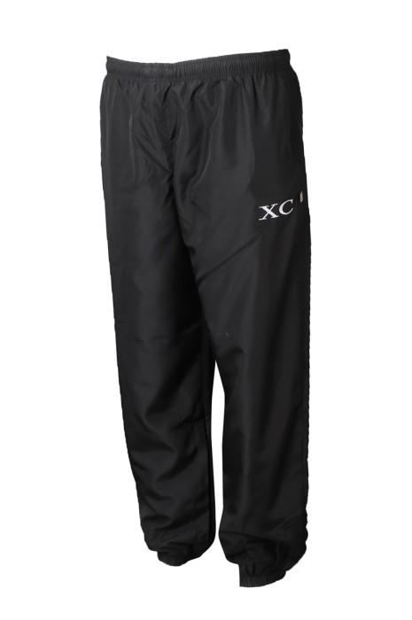 U360  度身訂造黑色運動長褲 個性化拉鏈褲袋運動褲 運動褲供應商