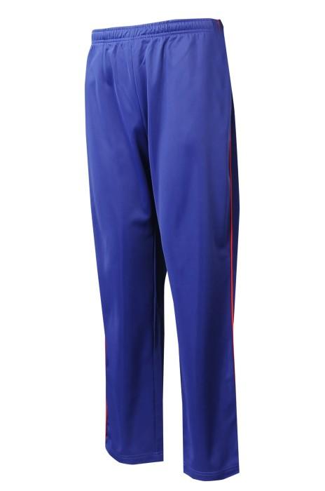 U369  設計側邊紅線   來樣訂製藍色金光線運動褲    橡筋褲頭   運動褲生產商   撞色唧邊